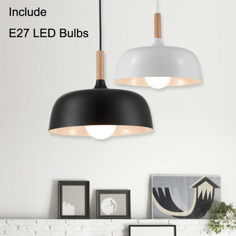 цены modern led pendant lights Pendant lamp for Restaurant round suspension luminaire Light Fixture with E27 5W LED bulbs Black White