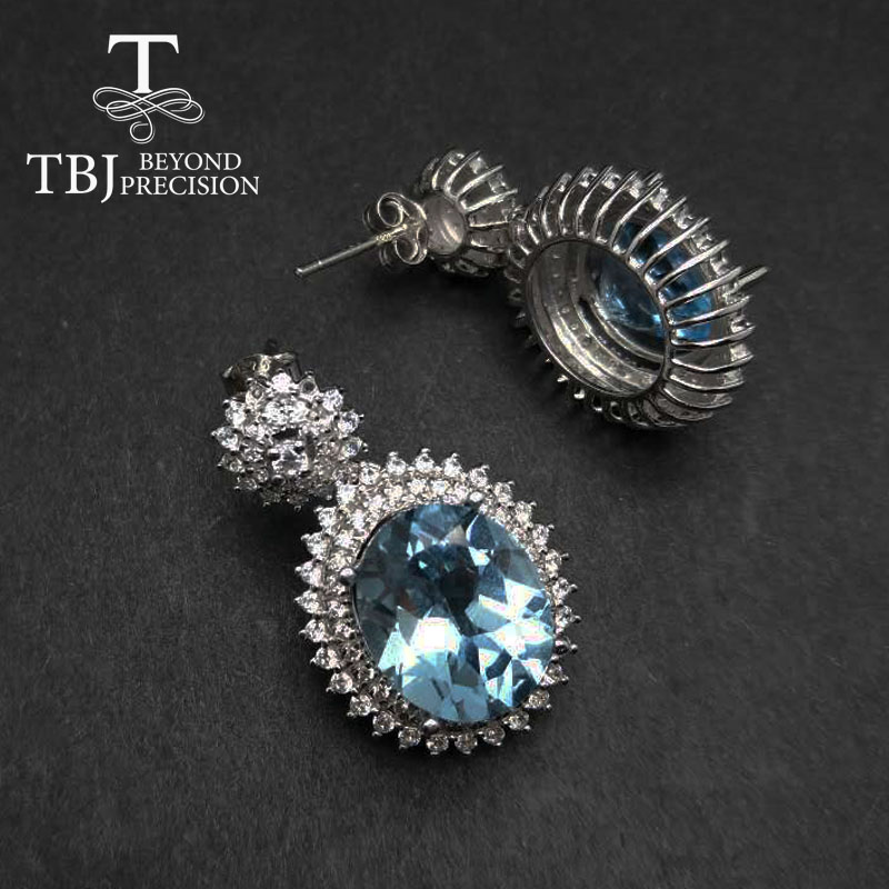 TBJ,Party queenHigh quality Luxury  Blue topaz  earring for Party,Big gemstone earring in 925 silver for lady with gift boxTBJ,Party queenHigh quality Luxury  Blue topaz  earring for Party,Big gemstone earring in 925 silver for lady with gift box