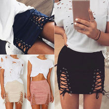 Fashion Women Skirt Ladies Lace UP Solid High Waist Bodycon Bandage Slim Pencil Short Mini
