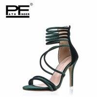 Pathfinder Women High Heel Pumps Fashion Gladiator Heels Shoes summer party Velvet sweet Peep Toe Thin Heel Buckle Strap shoes