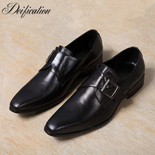 Deification New Sapato Social Masculino Slip On Men Dress Shoes Casual Buckle Strap Prom Loafers Black Leather Driving