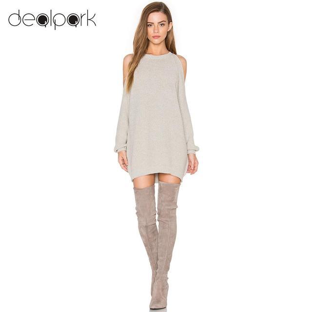 6fd7957f13a4 Autumn Winter Women Knit Sweater Dress Off Shoulder O-Neck Long Sleeve  Tunic Pullover Jumper