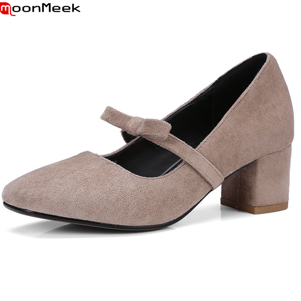 MoonMeek 2018 new square toe pumps women shoes with butterfly knot high heel slip on shallow mature flock female shoes moonmeek new arrive spring summer female pumps high heels pointed toe thin heel shallow party wedding flock pumps women shoes