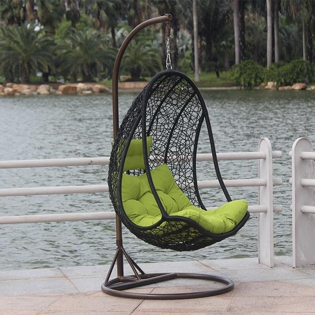 Jajko Krzesło Rattan Wiszące Koszyka Bujane Huśtawka Kryty