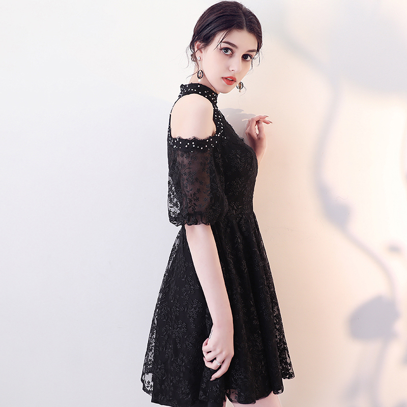 2018 Fashion Lace Black Celebrity Dresses Cheap High Mini Dress Elegant Red Carpet Dresses vloer vestido de festa Plus Size