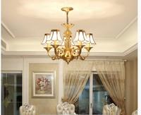 Free Shipping Brass Chandelier Bronze Hanging Lamp Luxurious European E14 AC LED Brass Crystal Lamp Lustre Suspension Lighting
