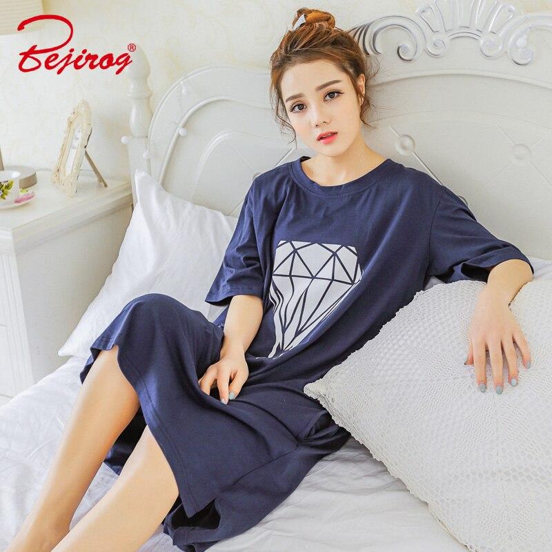 Bejirog 2018 women   nightgown   cotton   sleepshirt   cute sleep clothing short sleeved sleepwear female pyjamas girls nightwear summer
