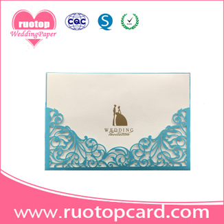 best selling traditional white wedding invitation cards with ribbon
