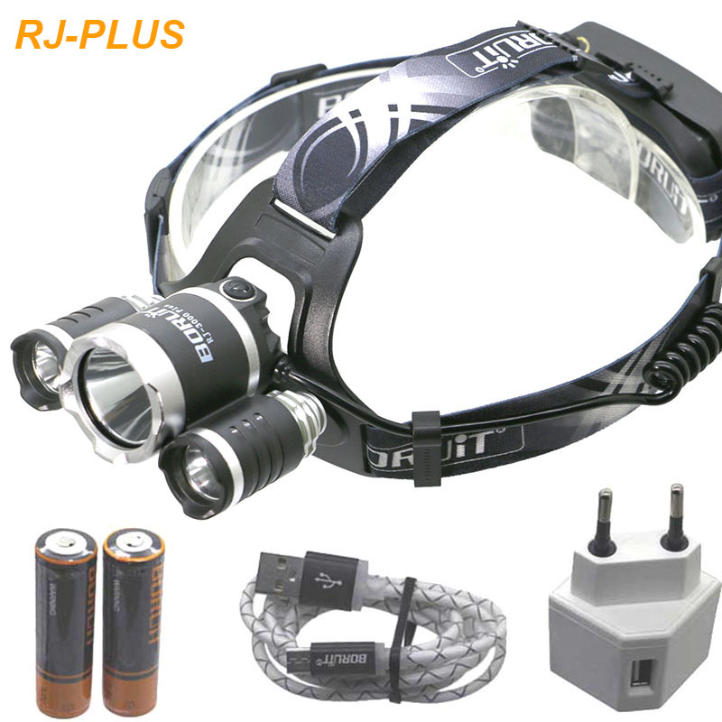 9000LM USB LED headlight 3T6 Rechargeable Head lamp Waterproof 18650 Lamp Lights 18650 Battery With Usb Cable