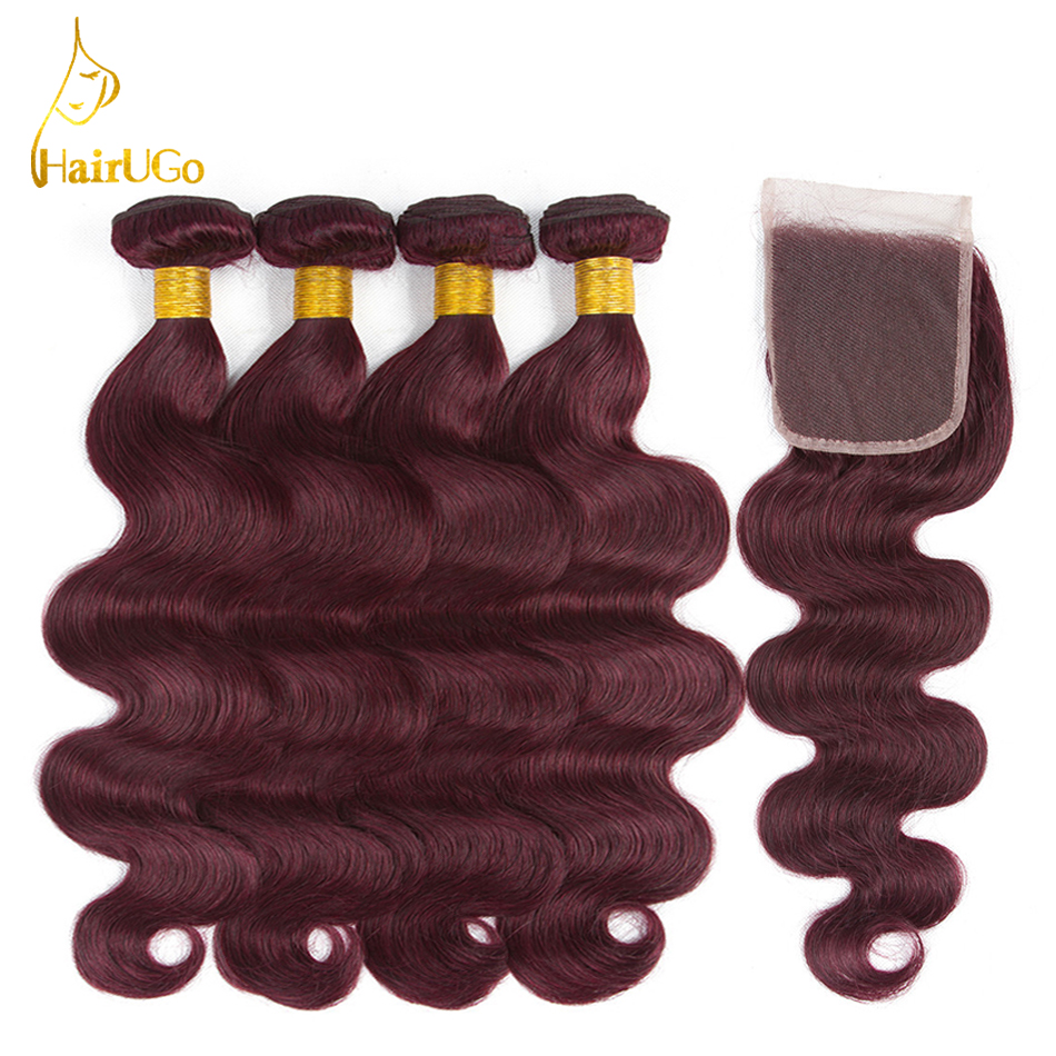 HairUGo Hair Pre -colored Human Hair Peruvian Body Wave Bundles Non Remy Blonde 4 Bundles With Closure Hair Extensions 99J