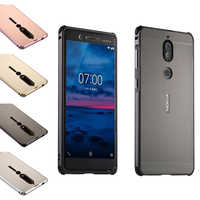 For 2018 Nokia 6 Brushed Back Cover Hard Case with Plating Metal Frame Case for Nokia 6 2018 Cover Nokia6 phone bags 5.5''