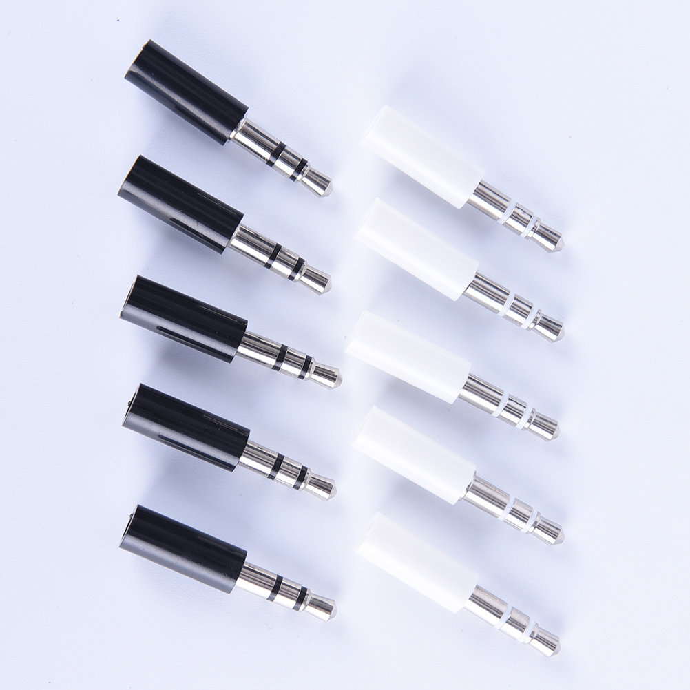 10pcs 3.5mm Stereo Headset Plug With Tail 3 Pole 3.5mm Audio Plug Jack Adaptor Connector For Phone
