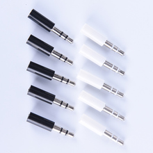 10pcs 3.5mm Stereo Headset Plug With Tail 3 Pole 3.5mm Audio Plug Jack Adaptor Connector For Iphone
