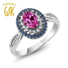 Сапфир ювелирные изделия gemstoneking 1.60 КТ овальной розовый сапфир Halo Кольцо Твердые стерлингового серебра 925 Для женщин Винтаж кольцо