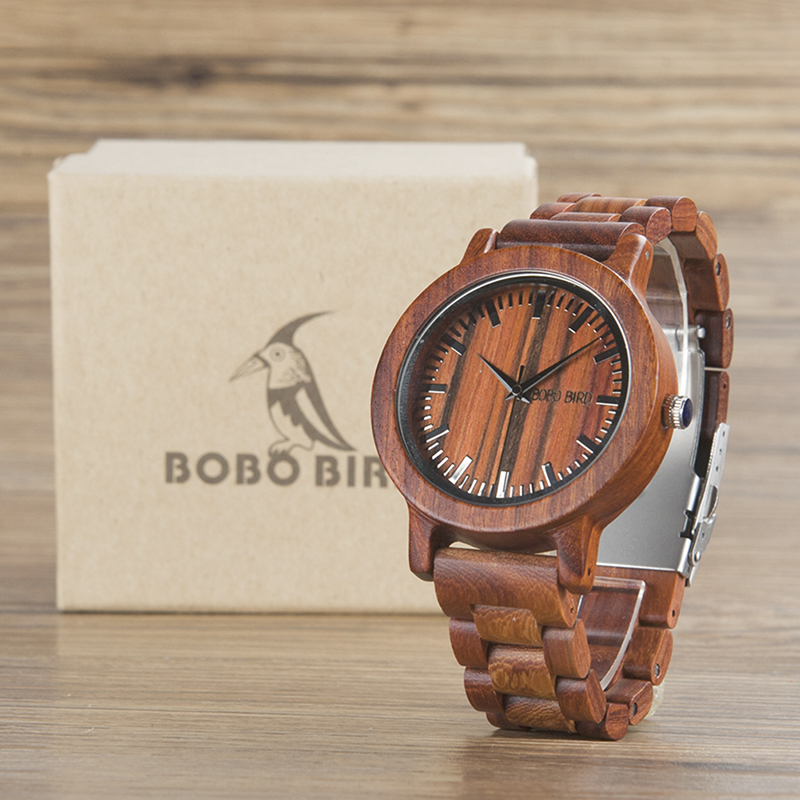 2017 Luxury Brand BOBO BIRD Men Watches Wood Watch with Wood Band Quartz Movement Wristwatch relogio masculino B-M10 bobo bird top brand men watch luxury wood watches with genuine leather strap relogio masculino