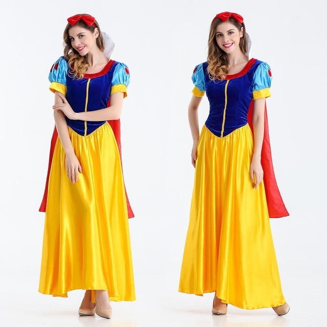 Halloween Women Snow White Dress with cape Lady snow white costumes Princess Dress Stage Costumes S-XXL any size