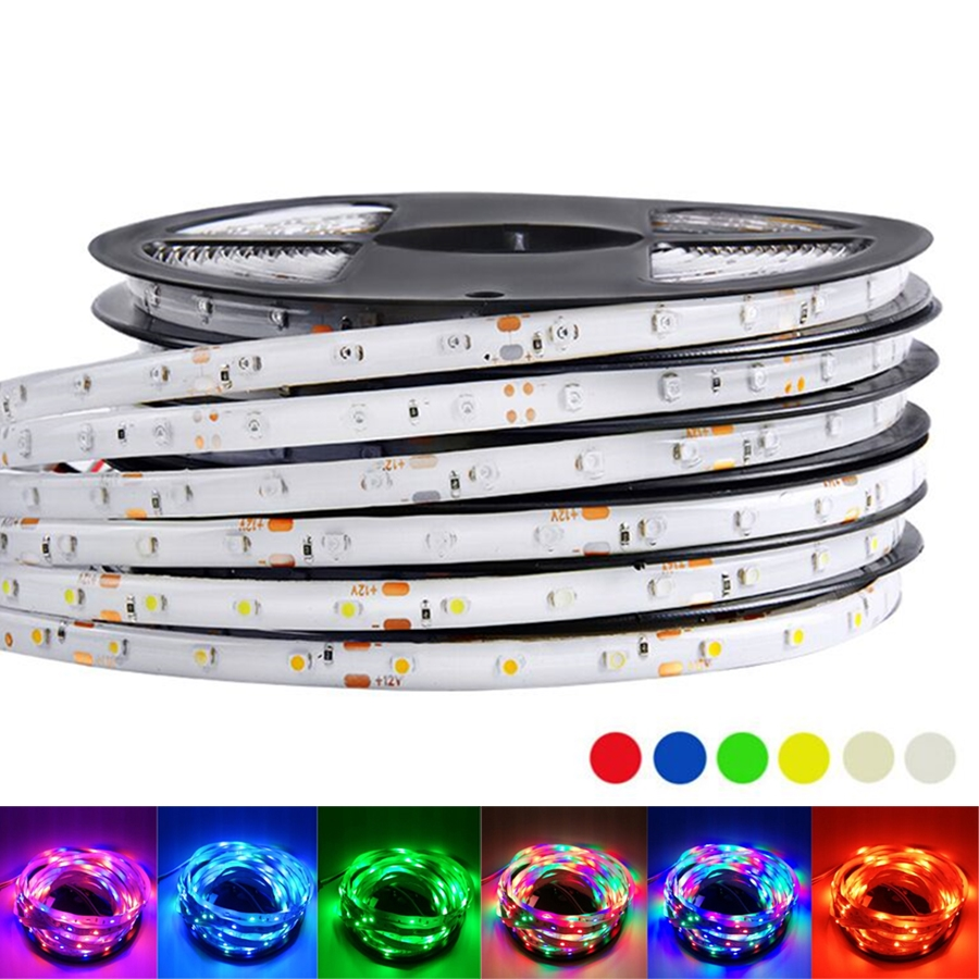 12 V Led Strip Light SMD 2835 RGB 12v Waterproof 5M 60LED/M RGB Led color Strip Tape Lamp Diode Ribbon Tape rope stripe Fleible crane embroidery ribbon tape detail jacket