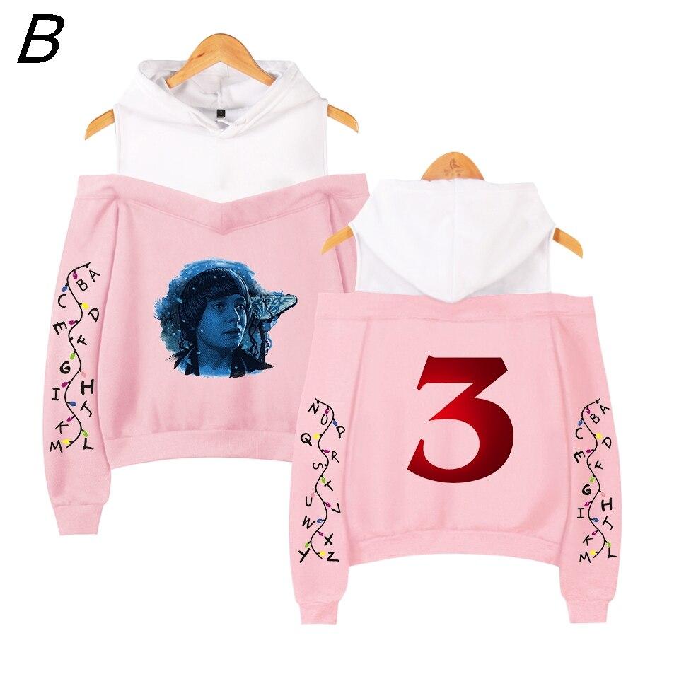 Stranger Things 3 Pink Demogorgon Hoodies Sweatshirt Vrouwen Cosplay Fans Gedrukt Printed Maten Voor Casual Fleece Sweatshirt