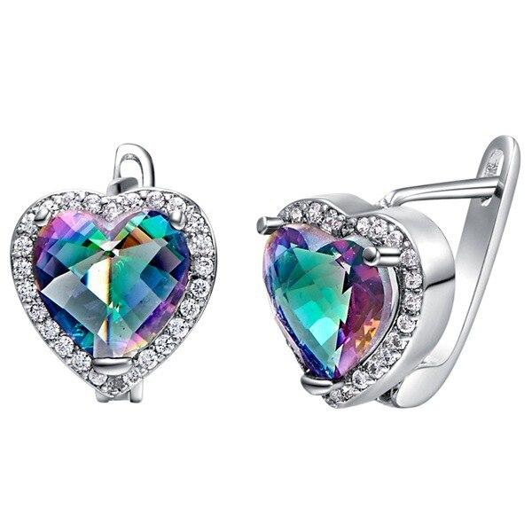 Online Shop Princess Cut Heart Mystic Fire Heart Love Set jewellry ...