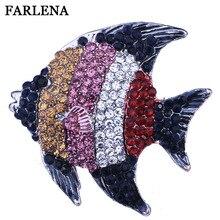 FARLENA Jewelry Multicolor Rhinestones Cute Fish Brooches for Women Fashion Crystal Brooch Pins