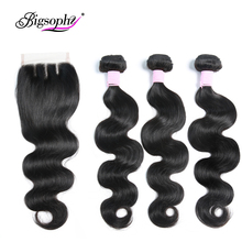 Brazilian Hair Body Wave 3 Bundles With Closure Human weave bundles with frontal Lace remy hair Extension BIGSOPHY
