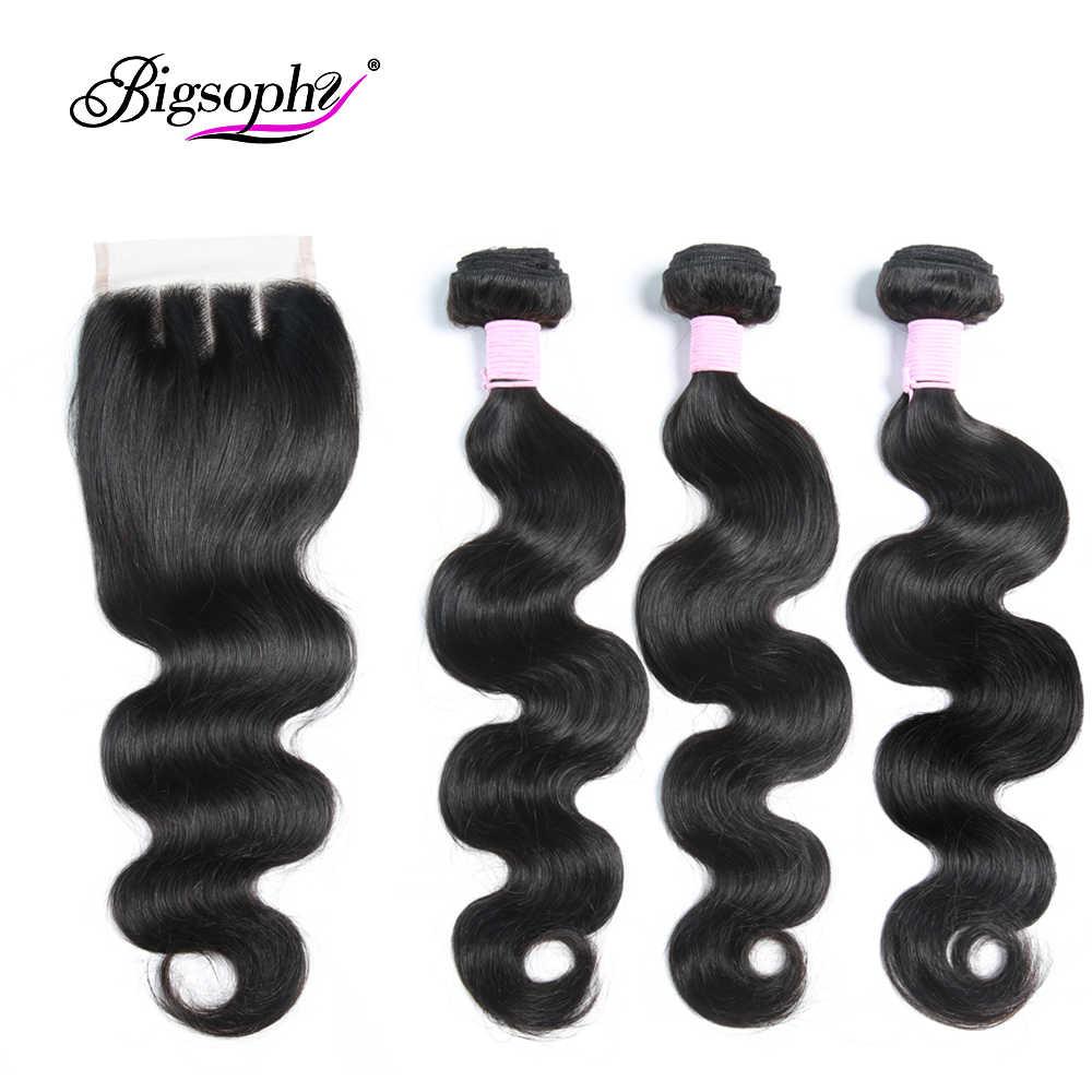 Paquetes de cabello humano brasileño con cierre onda del cuerpo 3 paquetes con cierre de encaje armadura paquetes remy extensión de cabello 8-30 BIGSOPH