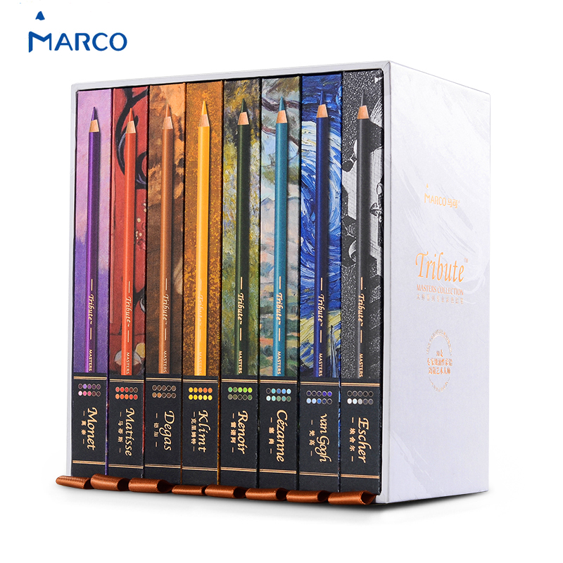 Marco Renior Oil Base 80 Colored Pencils Set for Artist Sketching Drawing Pro Art Painting Adult Coloring Books in 8 Gift Case цена