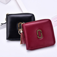 2019 new ladies short wallet fashion tassel zipper wallet woman card bag purse custom