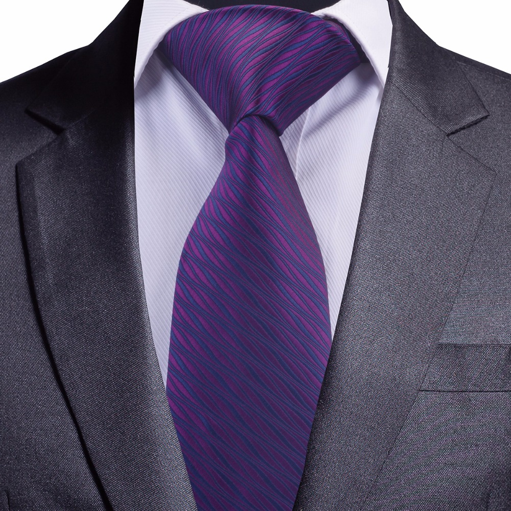 GUSLESON Brand New 8cm Men Tie Striped Necktie For Wedding Black Purple Blue Tie For Business Jacquard Woven Silk Neck Tie