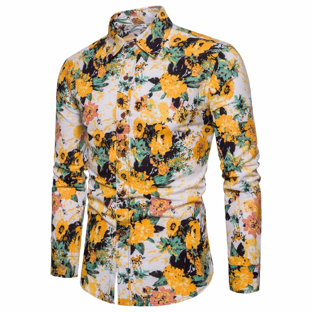 2018 New Spring &Autumn Shirts Fashion Folk Men Ethnic Yellow Flowers Printed Casual Hawaiian Long Sleeves Dress Shirts 4XL 5XL