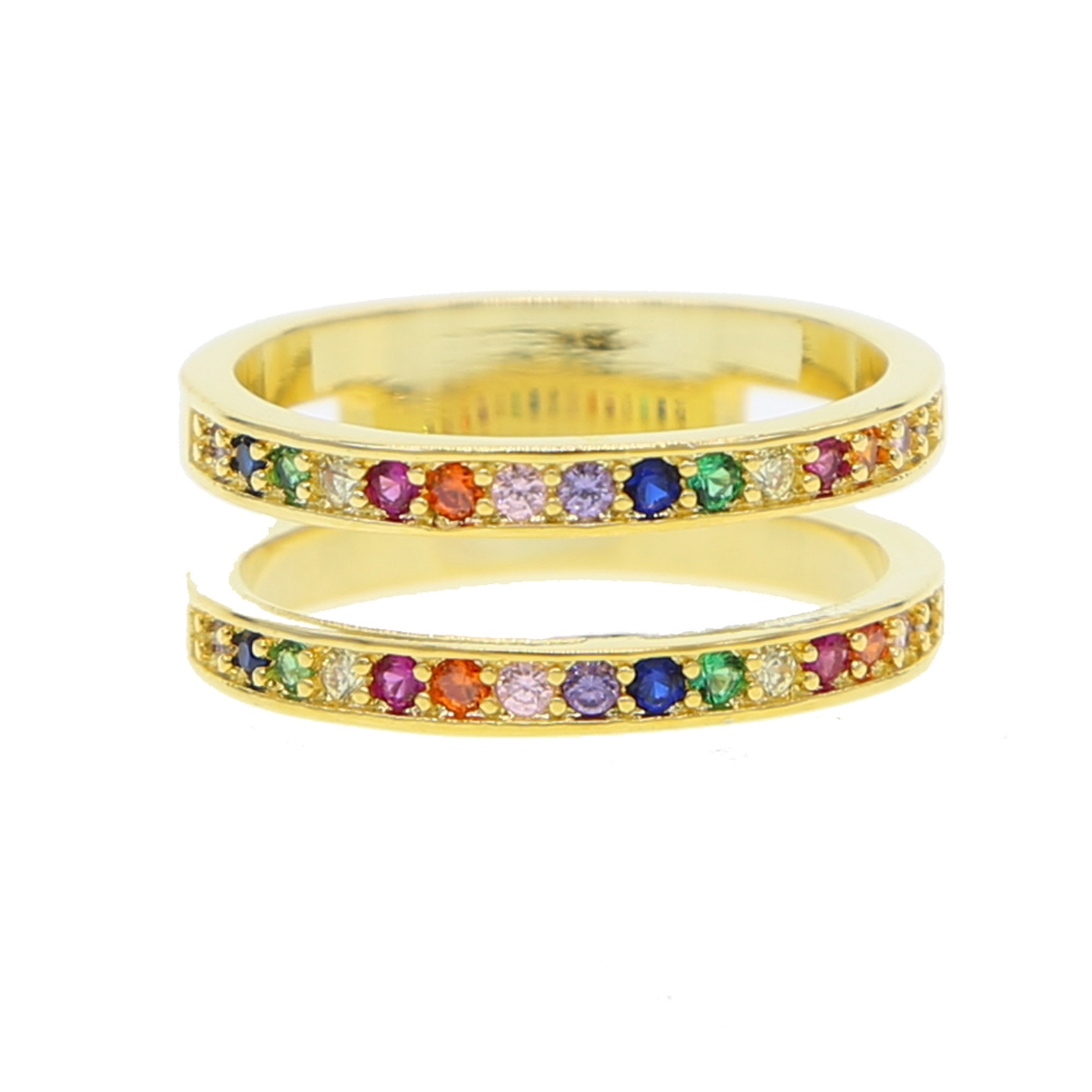 Precise Genuine Golden Fiied Double Circle Rainbow Green Red Blue Clear Cz Stackable Finger Ring For Women Fine Jewelry Honey Gift 2019