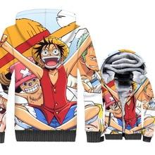 Classic Anime Sweatshirt One Piece Super Saiyan 3D Print Pullover Jaclet 2019 Fashion Mens Jackets Winter Thick Fleece Coat