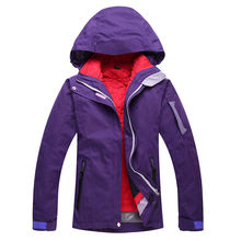 Woman Ski Purple White Jackets Ladies Ski snowboard waterproof windproof winter Snow mountaion Ski jacket Pure Color Costume