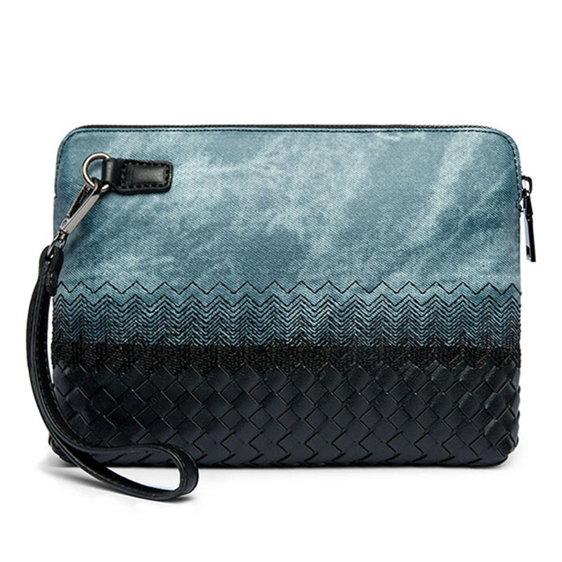 4f18ed509e1f0 2018 New Blue Women Men Leather Brand Woven Designers Men Envelope Clutch Purse  Bag Phone