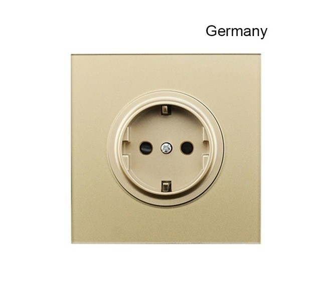 Golden Switch galss Panel Household 1 Gang 2 Way Glass Mirror Wall Switch 86 86mm Random Click On Off Light Switch With LED USB in Switches from Lights Lighting