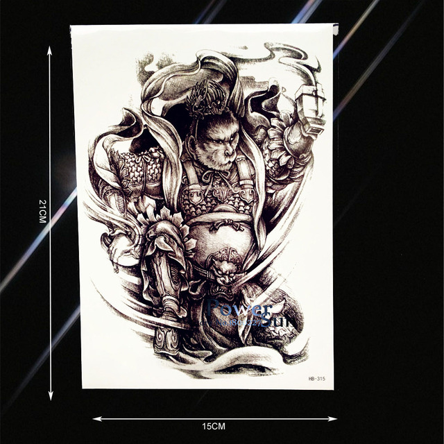 0e6f49b55 1PC Men Women Body Art Fake Tattoo Immortal Monkey King Sun Wukong Design  Waterproof Arm Sleeve