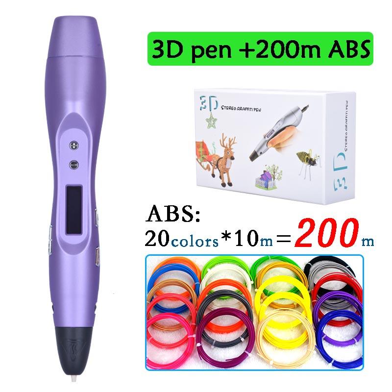 2017 arrivano 3D penna con 20 colori 200 metro ABS filamento bambini creativi educativi regalo 3D magic pen con display oled