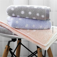 34x75cm 100% Cotton Polka Dot Super Soft Simple Adult Wash Towel Absorbent Washcloth Bathroom Hand Towel недорого