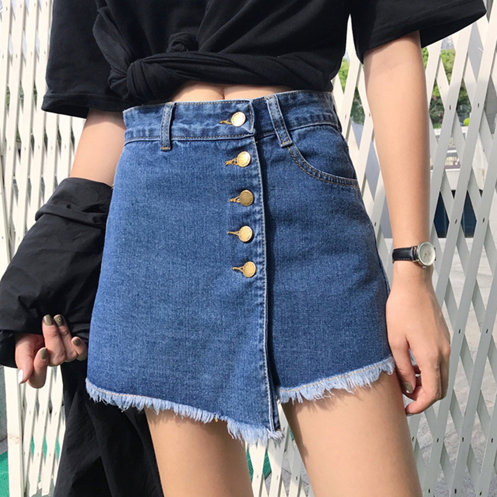 Women Skirt Shorts 2019 Newest Summer High Waist Skorts Blue Short Jeans Vintage Shorts Feminino Short Jeans Plus Size S-2XL