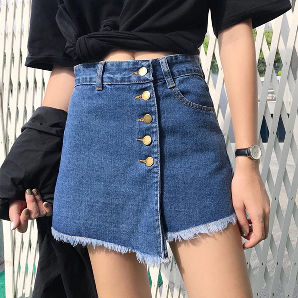 Women Skirt Shorts 2019 Newest Summer High Waist Skorts Blue Short Jeans Vintage Shorts Feminino Short Jeans Plus Size S-2XL