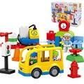 Оригинальный 29 шт маленький город желтый автобус блоки Набор Развивающие игрушки Строительные кирпичи детский подарок совместим с основны...