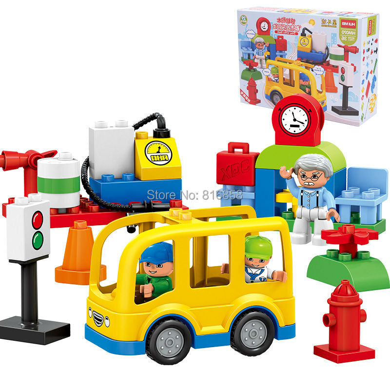 Original HUIMEI 29PCS Little City Yellow Bus Blocks Set Educational Toys Building Bricks Children Gift Compatible with Duploe ...