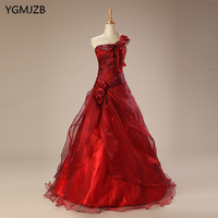 Red Quinceanera Dresses Long 2018 Ball Gown Bead Flowers One Shoulder Puffy Vestido Debutante Sweet 16 Vestidos De 15 Anos