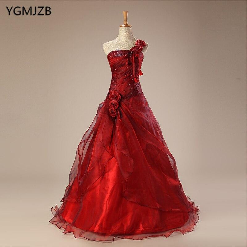 Robes De Quinceanera rouge longue 2018 robe De bal perles fleurs une épaule robe bouffante Debutante douce 16 Vestidos De 15 Anos