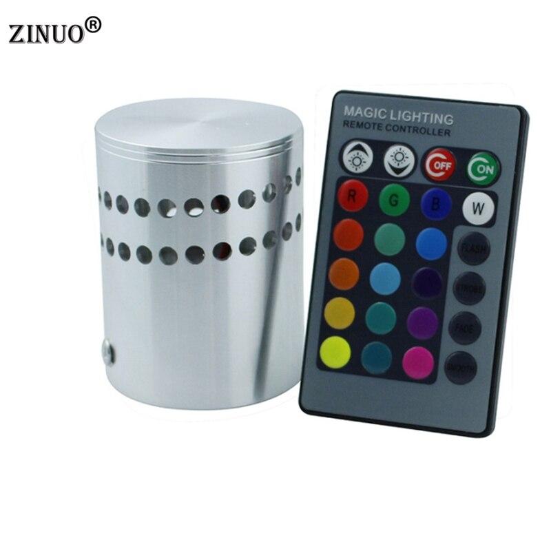 Zinuoac85-265v настенный светильник светодиодный rgb 3 Вт с 24key пульт дистанционного управления Освещение бра внутренней отделки свет для КТВ ресто...