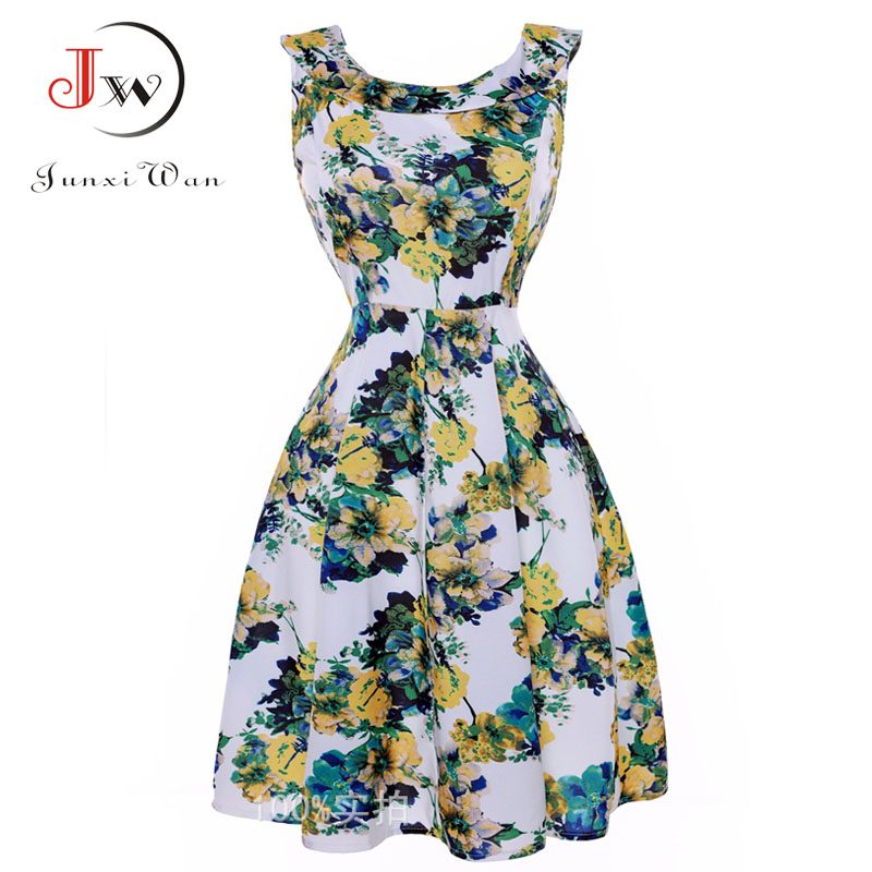 2017 Summer floral Print Vintage 50s 60s Dresses Cute Party Dress with Sashes Sleeveless Swing Rockabilly