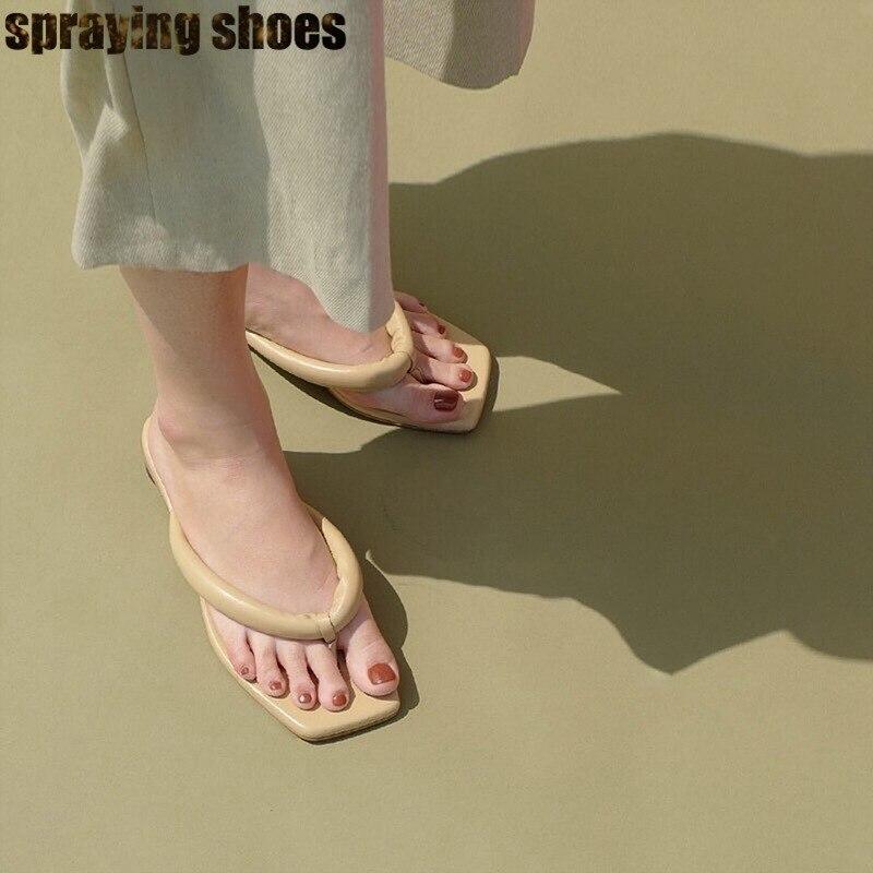 Mulheres na moda Do Dedo Do Pé Quadrado Plana Sandálias de Couro Genuíno Chinelos de Verão Sexy Ladies Flip Flops Sandálias de Praia Mulher 2019 - 3