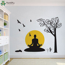 YOYOYU Wall Decal Yoga Vinyl Stickers Removable For Living Room Big Tree Flying Birds Art Decoration QQ85