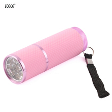 ICOCO Mini 9 LED Flashlight Lamp Nail Dryer Portable UV Gel 15s Fast Dry Nail Polish Curing Lamp Aluminum Alloy Torch Light