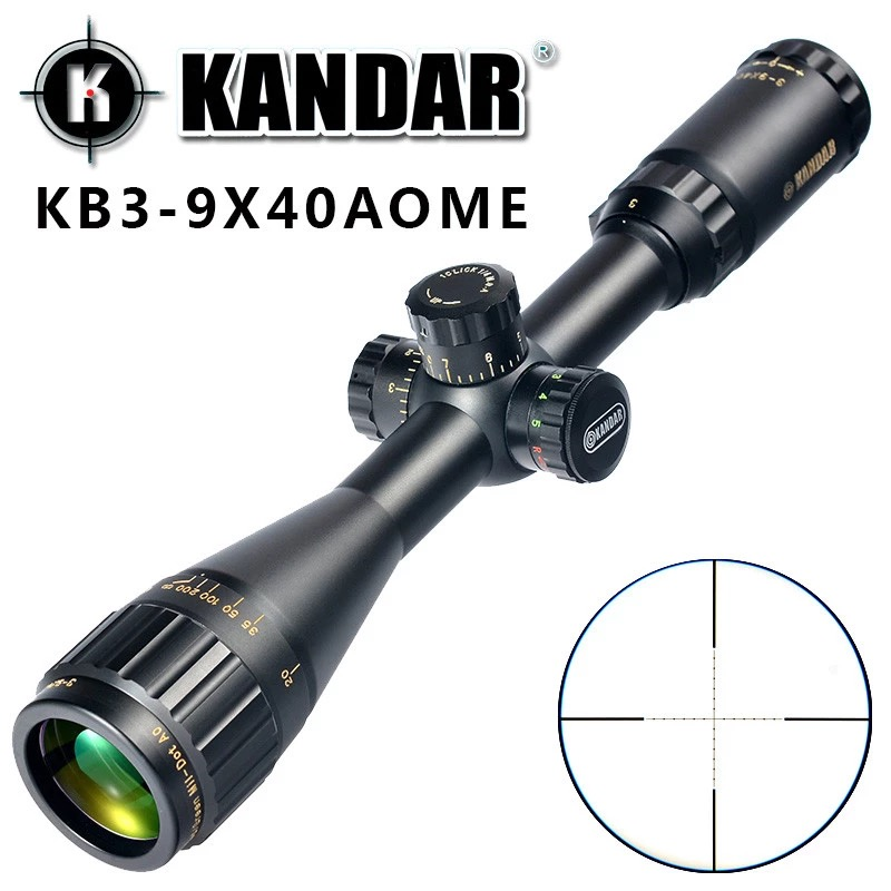 KANDAR Gold Edition 3 9x40 AOME Glass Etched Mil dot Reticle Locking RifleScope Hunting Rifle Scope